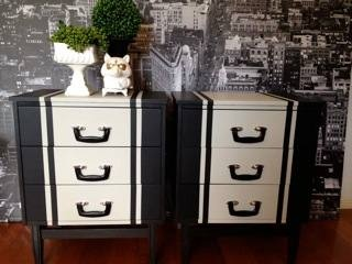cool painted furniture. suitcase handles and a cool paint job painted furniture