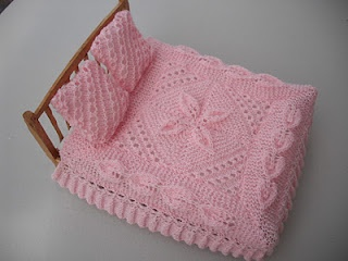 Knitting Patterns For Doll Houses : bitstobuy: 12th scale dolls house heirloom miniature knitted blanket Barbie...