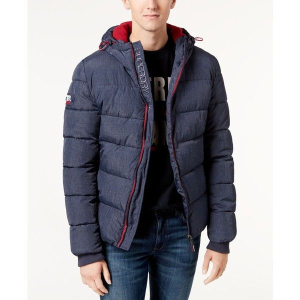 Superdry Men's Hooded Puffer Coat ($100) ❤ liked on Polyvore featuring men's fashion, men's clothing, men's outerwear, men's coats, mens hooded coat, mens puffer coat, superdry mens coats and mens camo coat
