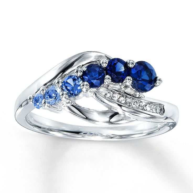 lab created sapphire ring accents sterling silver