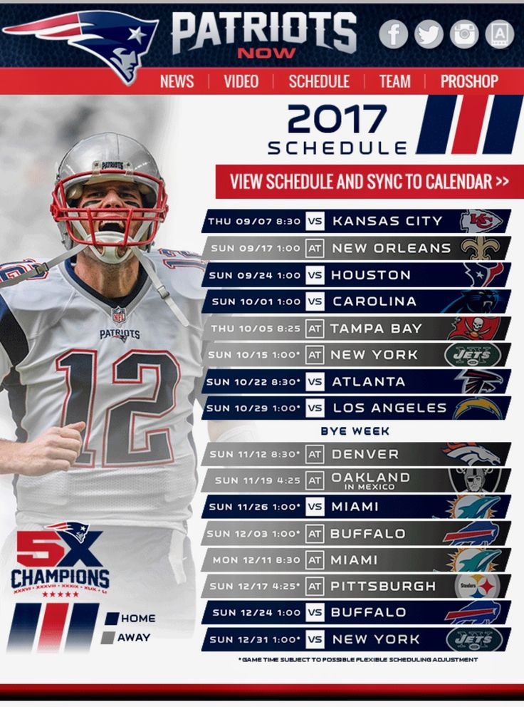 Patriots 2017 Season Schedule