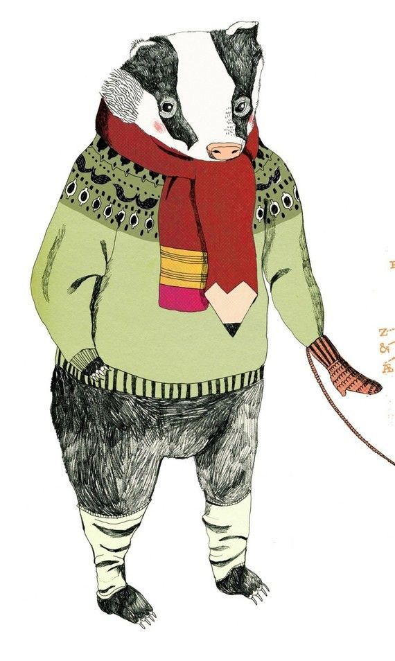 badger in mittens