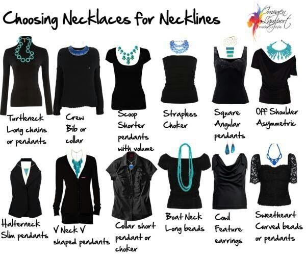 Choosing necklaces for necklines.