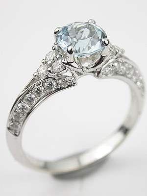 Antique Style Aquamarine Engagement Ring, RG-3433