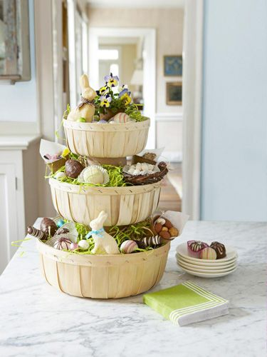 Tiered Easter Basket that uses orchard baskets. Full of chocolate bunnies - yum!