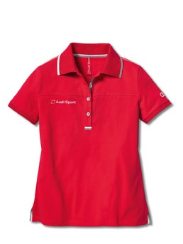 Women's Audi Sport polo shirt red.    Available from: http://www.m25audi.co.uk