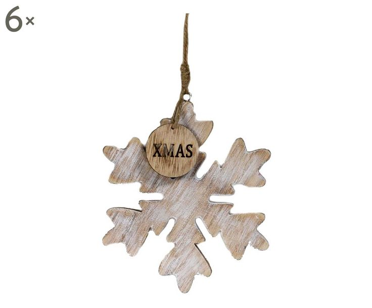 Set di 6 fiocchi di neve da appendere in legno naturale e for Nomi in legno da appendere
