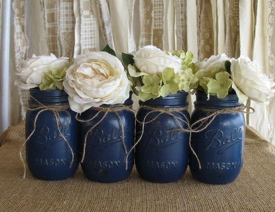 Rustic Navy Blue Mason Jar Wedding Centerpieces / http://www.deerpearlflowers.com/navy-blue-and-white-wedding-ideas/2/