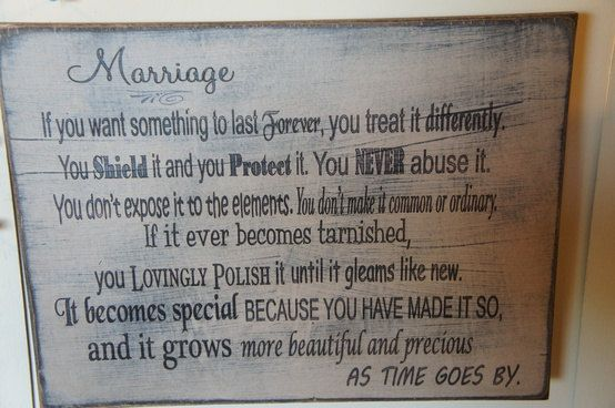 Lovely thoughts. Marriage Poem on Antiqued Distressed Sign. Wives and Newlyweds love this sign. They also make great  Anniversary Gifts. $39.95, via Etsy.