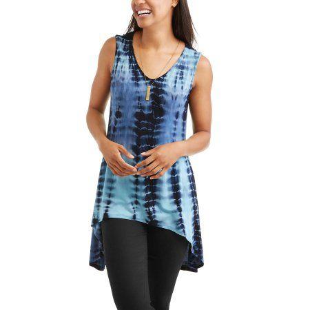 Women's V-neck Tie Dye Tank Top, Size: Medium, Blue