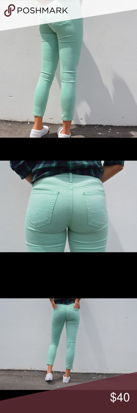 Adriano Goldschmied Jeans Hi all! I'm selling these pre-loved AG mint green jeans! They are a size 24, and they look super adorable on (as seen in the photos). Message me if you're interested or need additional info! Happy shopping, friends 😇 Ag Adriano Goldschmied Jeans Skinny