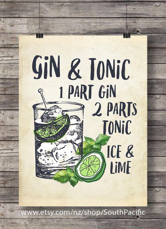 Gin et tonique au citron vert   Illustration de Cocktail imprimable   Bar Decor   Décor de cuisine   Cocktail vodka classique   Imprimable