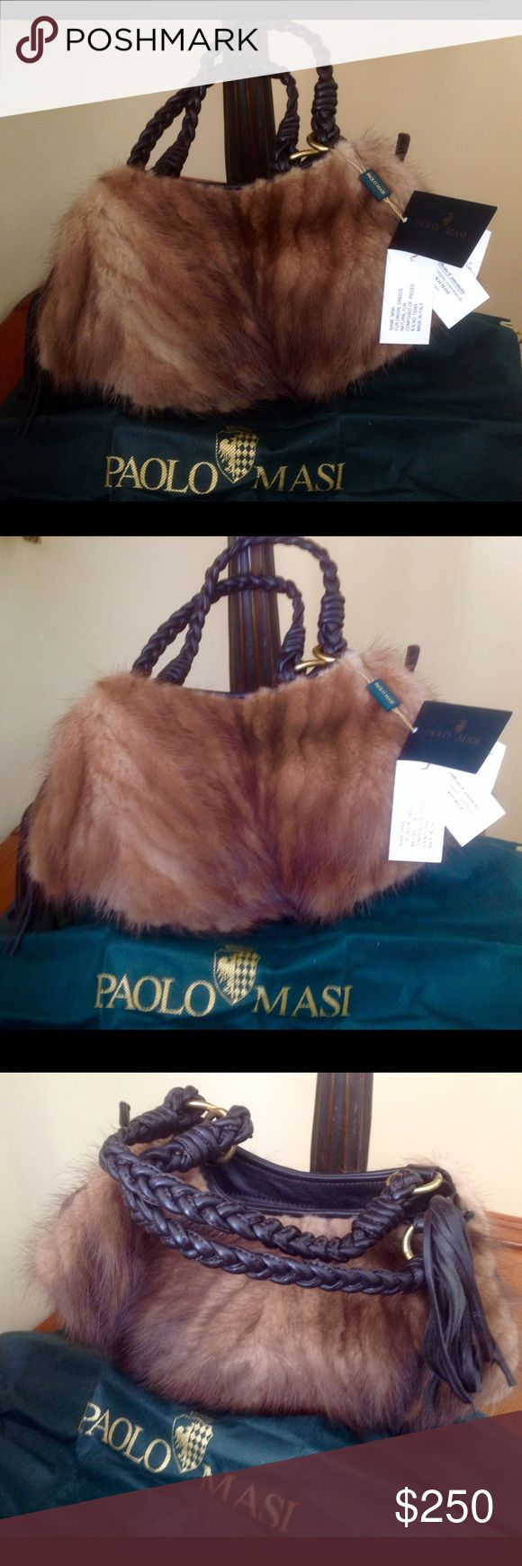 Paolo Masi mink fur handbag made in Italy, purse New original Paolo Masi real mink handbag is natural mink color with dark brown breaded handles and nice tussle attached to zipper. Bag has certificate of authenticity. ❤️ Inside has three compartments, one with zipper as well pocket with zipper too. It's made in Italy!             Since leather and fur are the most popular this season this handbag will be great addition to your outfits! You can use it with everything, from jeans to camel coat…