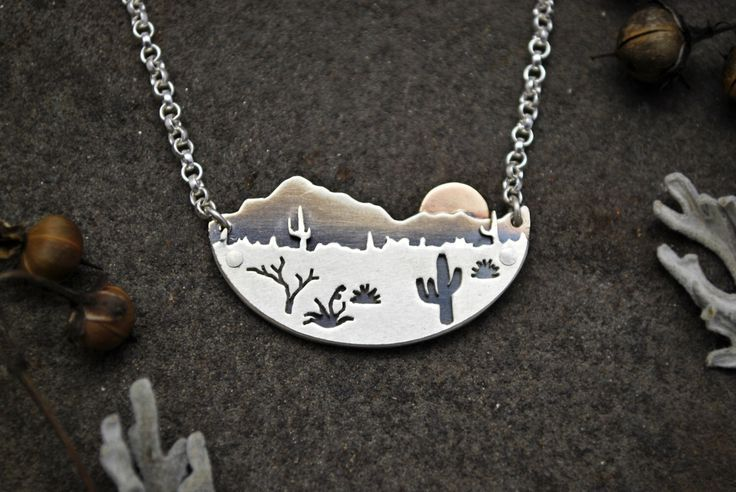 We love this Arizona Cactus Landscape Pendant Necklace!