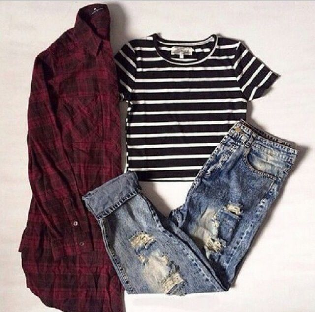 Fitted black & white stripes crop top , ripped boyfriend jeans , red & black…