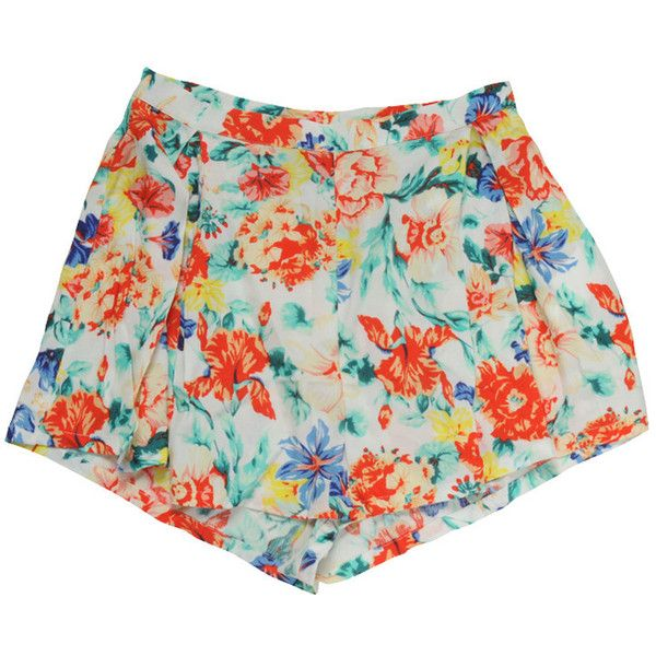 MINK PINK Womens Multi Colour Flower Box Pleat Shorts found on Polyvore