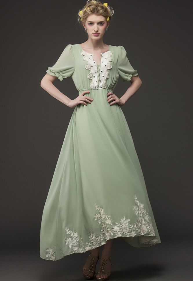 Green Short Sleeve Vintage Embroidered Maxi Dress - Fashion Clothing, Latest Street Fashion At Abaday.com