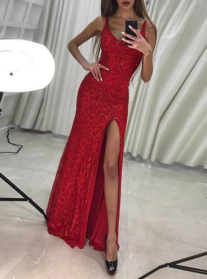 slim red sweet 16 dress