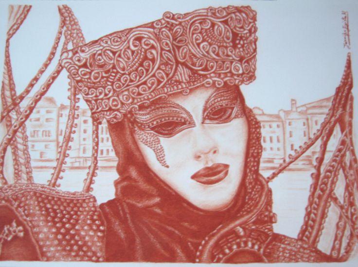 """""""Carnevale di Venezia: La Signora del Vento"""". Disegno eseguito a sanguigna da Jennifer Egista. Dimensioni: cm 35 x 50 cm.   #ColoredPencils #Venice #VeniceItaly #VeniceCarnival #Art #Drawing #Cretacolor #Sanguine"""