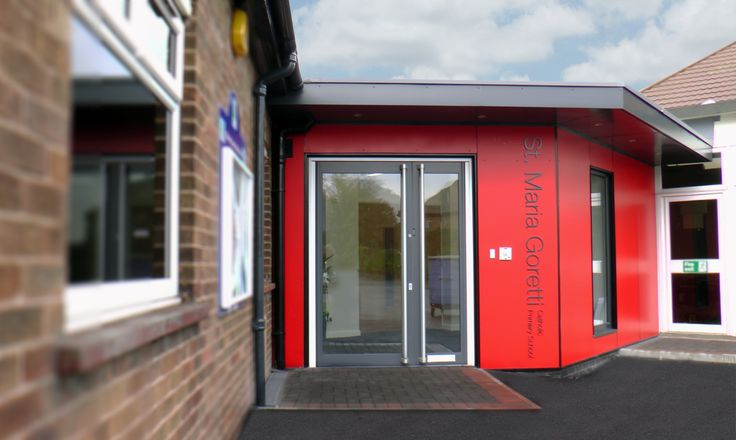 St Maria Goretti Catholic Primary School, Preston. This educational project involved providing St Maria Goretti School with a new secure entrance lobby, a canopied roof for the parents waiting area and the provision of an accessible toilet. Croft Goode Architects