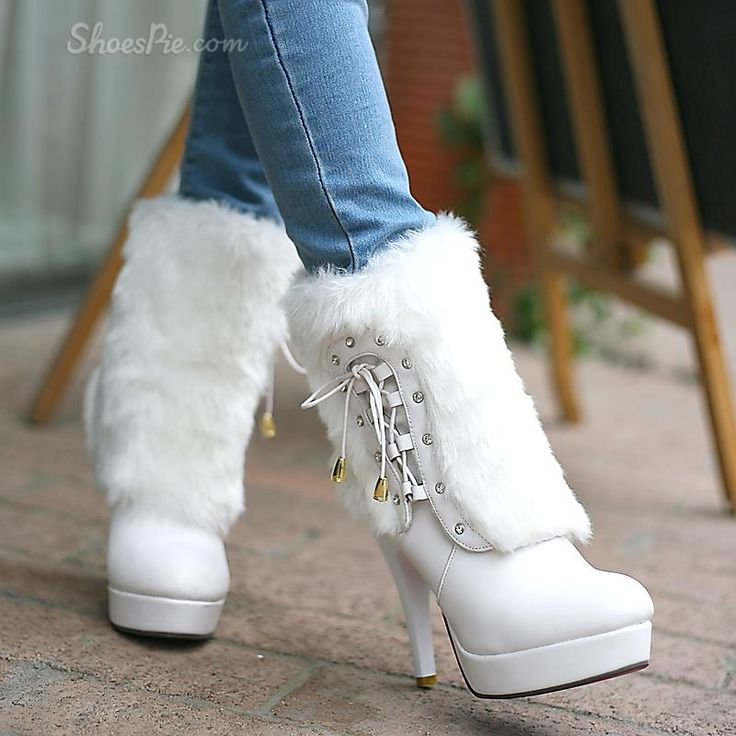 High Quality White Stiletto Heels Boots