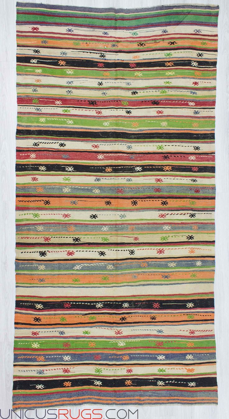 """Vintage striped kilim rug from Denizli region of Turkey.İn good condition.Approximately 45-55 years old Width: 5' 8"""" - Length: 11' 2"""" Striped Kilims"""