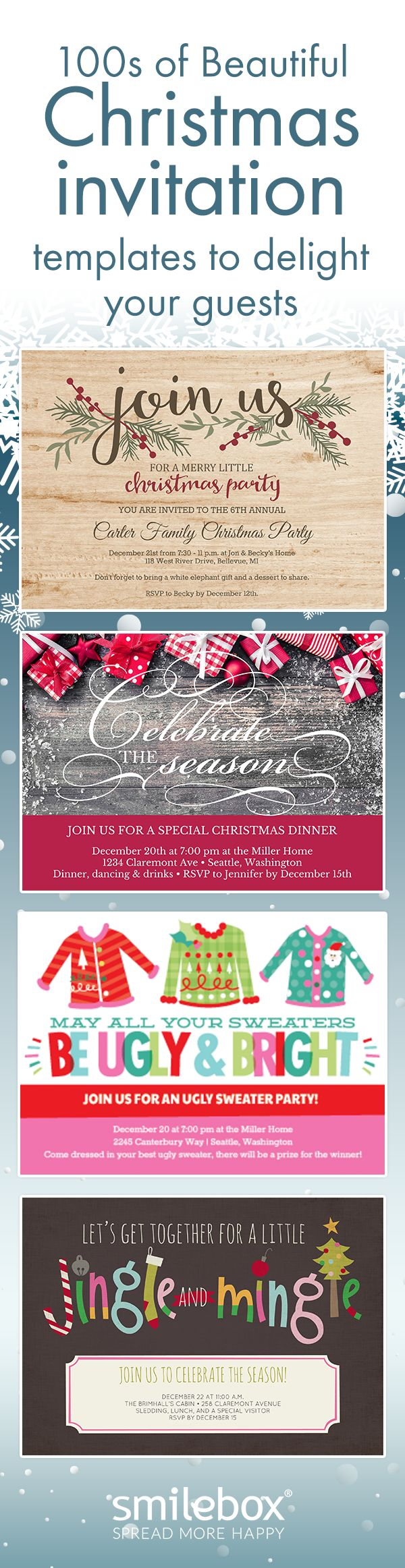 Delight guests with Christmas invitation templates that set the scene for your best Holiday party yet.  Customized text, photos, and music, bring holiday spirit to the entire family!