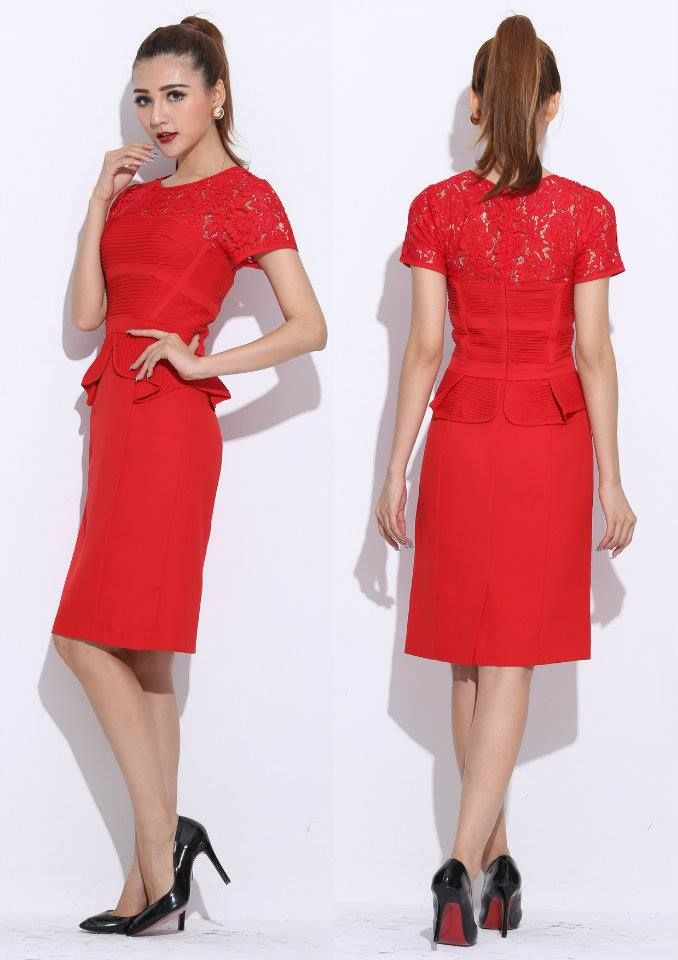 Short sleeves red lace knee length dress