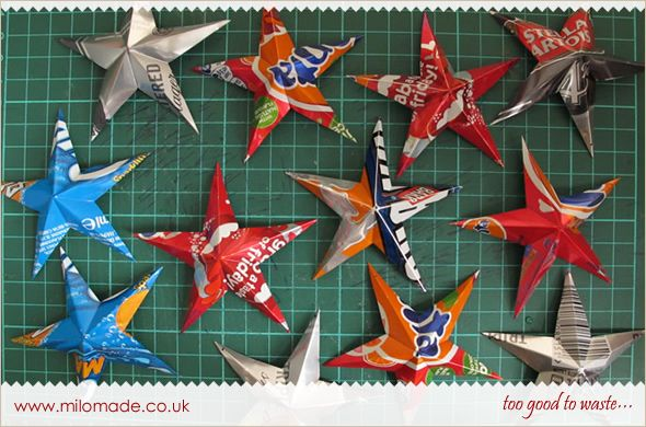 DIY Tutorial (easy to make and has lots of step-by-step pics) - Festive Stars Made From Recycled Drink Cans