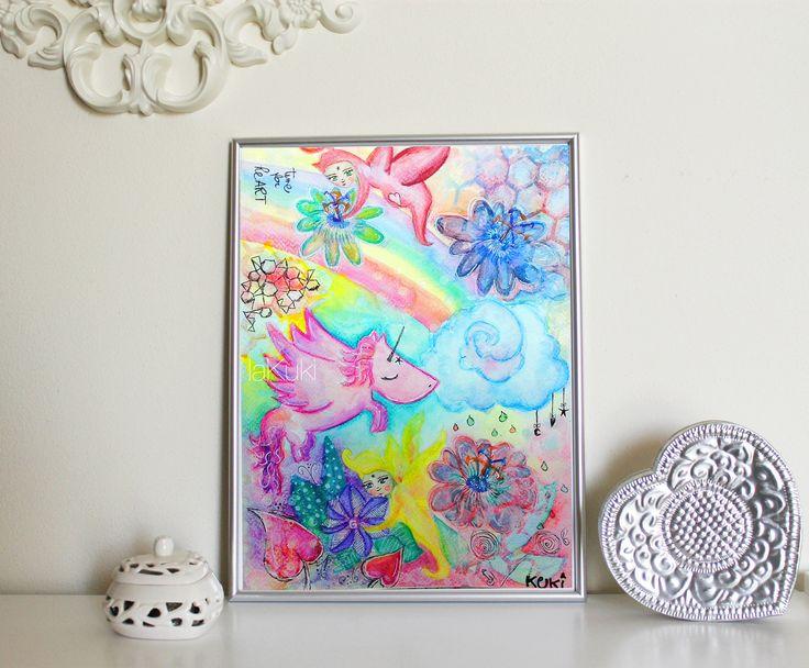 """Mondo fantastico """"Tempo per Cuore e Arte"""" stampa, poster arcobaleno, stampa arte unicorno, stampa camera bebè, poster fatine mamme di laKuki su Etsy"""