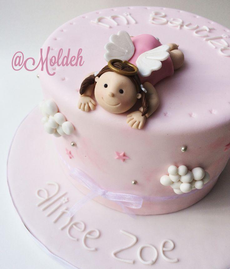 Pastel de angelito para bautizo de bebé niña // Angel baby girl baptism cake