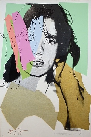 Andy Warhol: Mick Jagger (F. & S. II 140)   # Pin++ for Pinterest # Further to the idea previously draw image of famous person on acetate sheet and collage underneath to create Andy Warhol look alike.