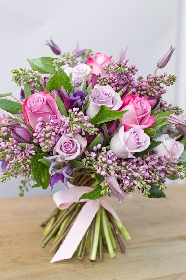 Valentine's Day Flowers - Lavender and Pink.  Lovely.