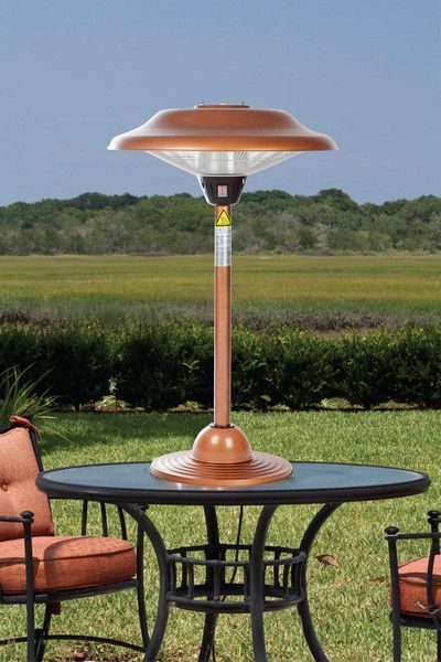Our Copper Finish Table Top Round Halogen Patio Heater Introduces A New  Revolution In Outdoor Heating
