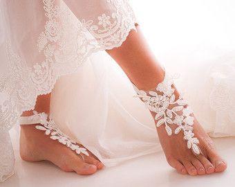sandalias del cordón descalzo zapatos de novia por BBbyBarmine