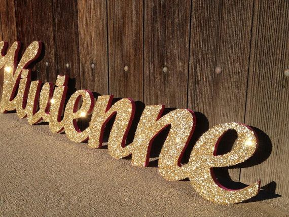 glittery wood name sign in script font 8 letters wall hanging for kids