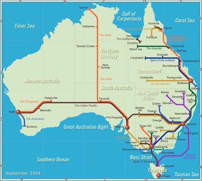 There are many passenger train and tram operators in Australia offering services ranging from intensive suburban trains and electric tramways in major cities, to commuter trains and long distance interstate and luxury trans-continental journeys. The trains are high quality and all operators have reasonable on-line information about their services.