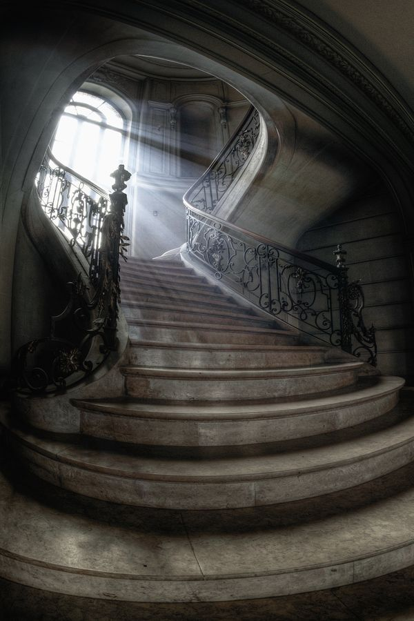 The staircase of an abandoned chateau in Lumiere, France.