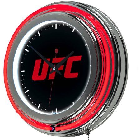 UFC Chrome Double Ring Neon Clock, Version 3, Silver