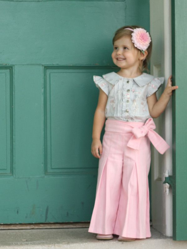 Whitney Pants Sewing Pattern from Violette Field Threads -- Sizes 2 - 10 -- The Whitney pleated trousers are tailored and sophisticated.  This pattern also comes with a classic pleated skirt version!  The Whitney is perfect for EVERY season.  The trousers feature floor length pleats, wide hems, and a classic sash with bow option.