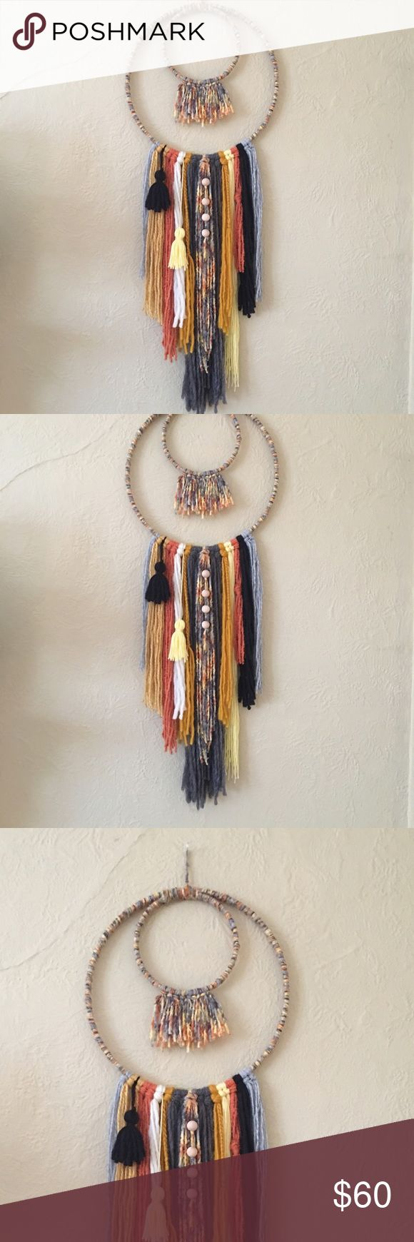 Bright Fire Dream Catcher Style Wall Hanging Handmade by me with careful thought and precision. Created with high quality, super soft yarns and wools. Features shades of gray, orange, yellow and black and is adorned with natural wooden beads and playful tassels. Ready to ship! Measurements: 12 in x approx 33 in Free People Accessories
