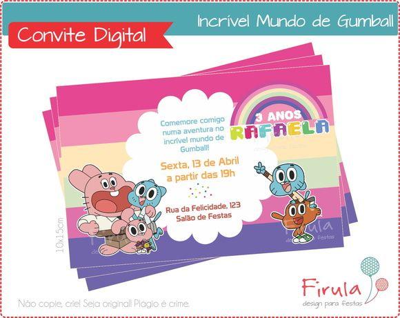 Convite Digital Gumball | Firula Festas | Elo7