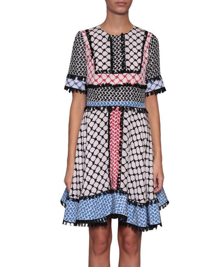 Dodo Bar Or spring/summer 2016 round neck short dress in printed silk, short-sleeved, with flared skirt. back hidden zipper. Composition: 100% silk