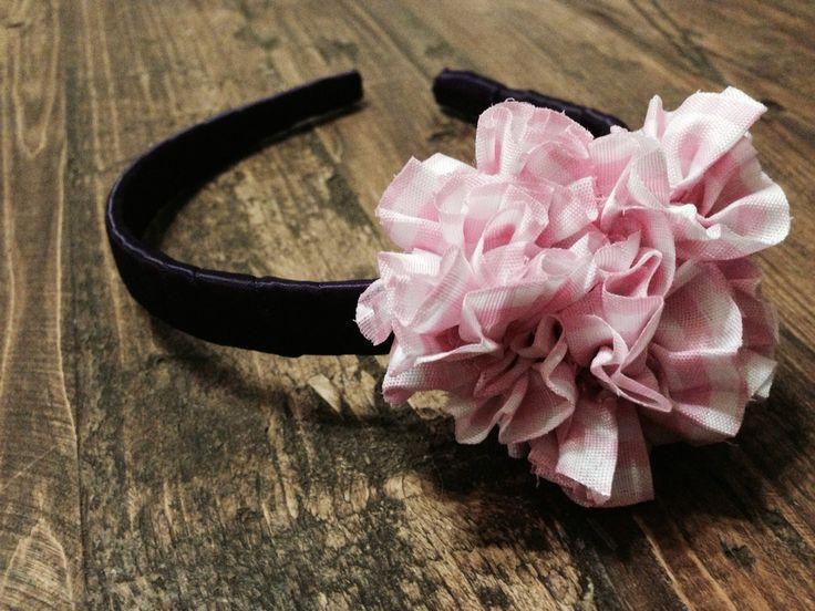 Pink Gingham Flower Headband