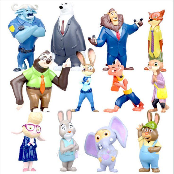 12pcs/lot New Movie Zootopia Utopia Action Figures Cartoon PVC Mini Models Nick Fox Judy Rabbit Flash Sloth #Affiliate