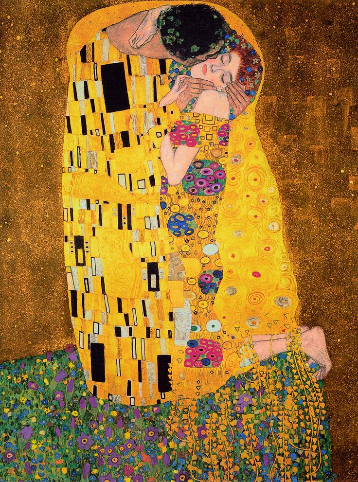 Gustav Klimt - The Kiss, oil and gold leaf on canvas, 1907–1908. Never noticed that the girl was a redhead! :)