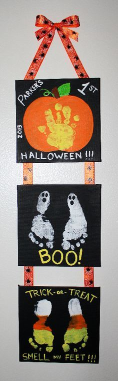 baby feet and hand print jackolantern - Google Search
