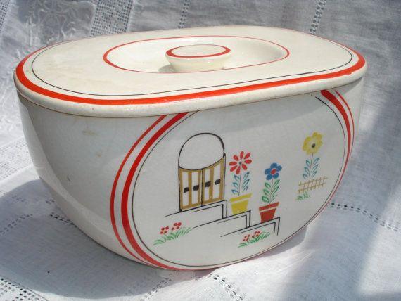 Vintage 1930s Kitchen Canister Ceramic Pottery by GreenleeAndVine, $15.00