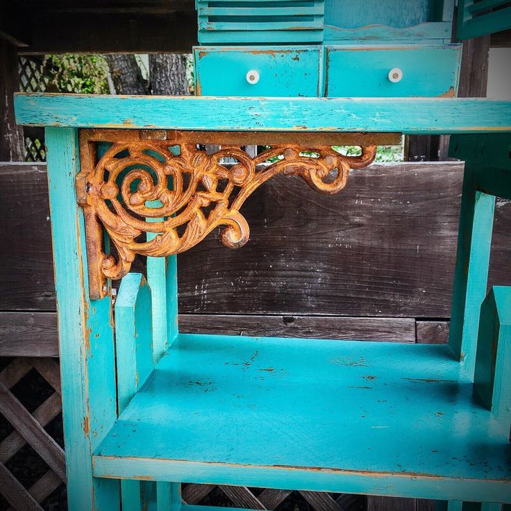 Shabby Chic Bookcase, vintage, seafoam green, w/ antique, wrought iron, corner accents, key hooks, entryway, storage, shelves, bookshelf by ReincarnatedwithLove on Etsy https://www.etsy.com/listing/266050191/shabby-chic-bookcase-vintage-seafoam