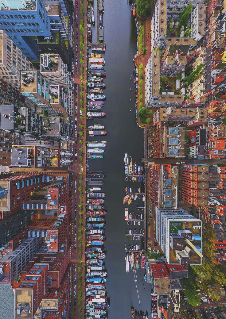 Westerdok Disctrict Amsterdam Netherlands from a Birdu0027s Eye